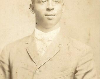 Vintage Cabinet Photo  Black Americana- African American Dapper Man