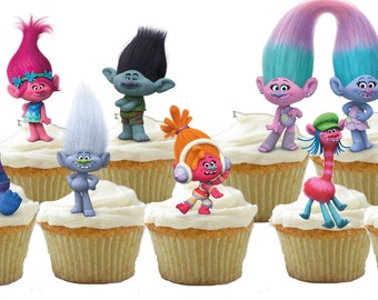 24 Trolls cupcake toppers