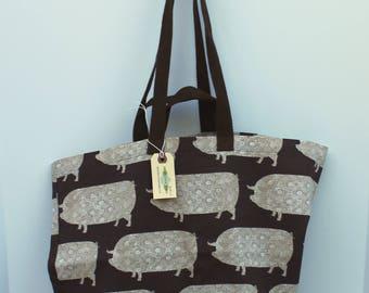 Canvas Bag: Market Pigs, washable