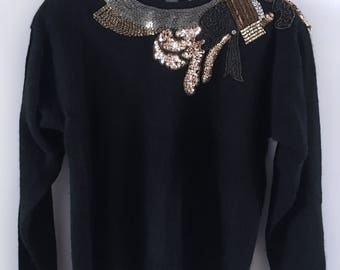 Black Lambswool & Angora Sequin Party Sweater