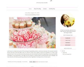 Blogger Template - Simple Clean Blog Design - Pastel Blog Theme - Blog Layout - Blogspot Template