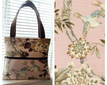 Floral with Birds Blush Pink Shoulder Bag /Small  Purse / Magnetic Snap Closure