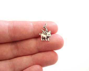 Sterling Silver Flying Pig Charm, When Pigs Fly Charm, Flying Pig Pendant, When Pigs Fly Charm, When Pigs Fly Pendant, Flying Pig Charm