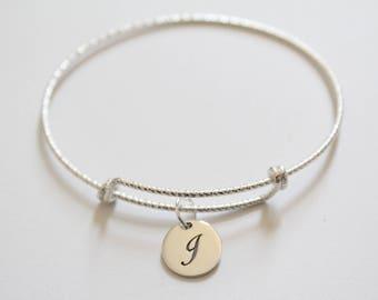 Sterling Silver Bracelet with Sterling Silver Cursive J Letter Charm, Bracelet with Silver Letter J Pendant, Initial J Charm Bracelet, J