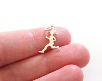 Sterling Silver Running Girl Charm, Runner Charm, Girl Runner Charm, Marathon Runner Charm, Half Marathon Charm, 10k Runner Pendant, Run