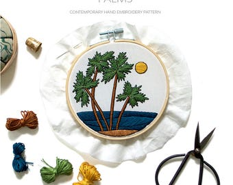 August Palms Pattern Contemporary Embroidery PDF by Sarah K. Benning - #SKBDIY Monthly Pattern Program: Single Month Instant Download