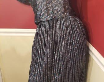 FREE  SHIPPING   1960  Metallic  Lurex  Dress