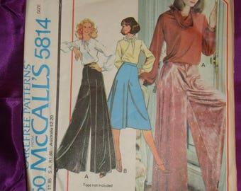 1970s 70s Vintage BoHo Very Wide Leg Pantskirt Below Knee or Evening Length COMPLETE McCalls Pattern 5814 Wst 25 26.5 US 64 67 Cm EASY