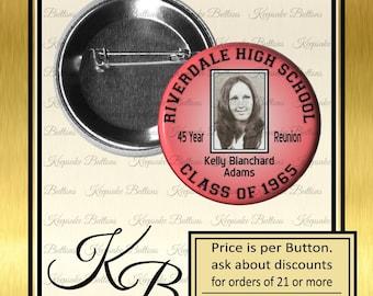 "2.25"" Custom Class Reunion Photo Button, High School Reunion, College Reunion, Pin, Magnet, Key Chain, Mirror"