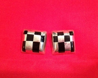 Vintage Sterling Silver 925 Checkered Clip Earrings Mexico