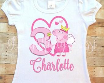 Peppa Pig Birthday Shirt, Peppa Pig Shirt, Personalized Birthday Shirt, Peppa Pig Birthday, Girls Shirt, Girls Birthday Shirt
