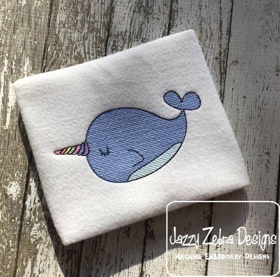 Narwhal sketch embroidery design - Narwhal embroidery design - magical embroidery design - sketch embroidery design - ocean embroidery