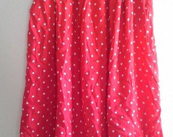 Vintage Red White Polka Dot Full Skirt Sz 8 Pin Up Rockabilly
