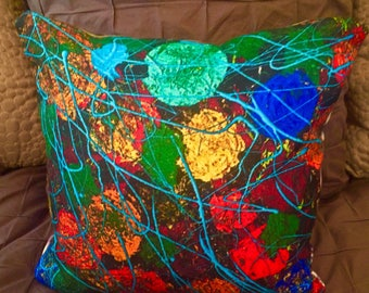 "Woven Crossweave Flower Pillow 16""x16"" featuring art by Leroy  Morvant"