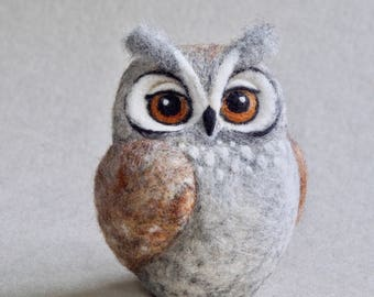 needle felted horned OWL by The Lady Moth - brown owl - fibre art - owl sculpture - needle felted bird - ready to ship - UK