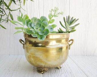 Vintage Brass Planter, Brass Planter Pot with Handles, Boho Bohemian, Mid Century Decor, Desk Organizer, Rustic Farmhouse