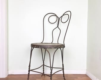 Antique Parlor Chair 1920s Ice Cream Chair Twisted Iron Bistro Chair Antique Wrought Iron Cafe Chair