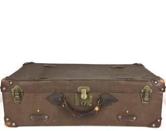 Vintage Suitcase Celluloid Suitcase Vintage 1930s Brown Luggage Suitcase Old 1930s Briefcase Vintage Brown Suitcase