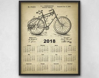 Bicycle Patent Calendar 2018 #2 - Cycling Poster - Vintage Bicycle - Cyclist Gift Idea - Bicycle Wall Art - 2018 Bicycle Calendar