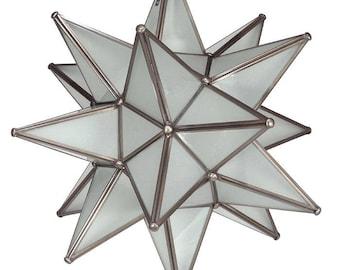 """Moravian Star Pendant Light, Frosted Glass, Dark Frame, 16"""""""