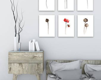 Red Poppy Canvas Painting set 6 Floral Living Room Red Brown Decoration, Abstract Minimalist Flower Botanical Art Print Poppies Illustration