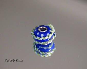 Glass bead spun torch - big hole - silver - * twist * lapis/green-bead glass Lampwork - bead bracelet-created glass bracelet