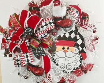 Santa wreath for front door,  white Christmas  wreath, Santa face wreath,  Santa wreath hat