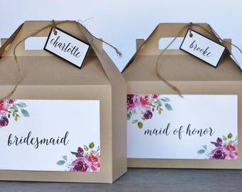 Set 10 BRIDESMAID Kraft Gable Boxes Floral Purple Plum Merlot Marsala Coral Pink flowers greenery - bridal party gifts