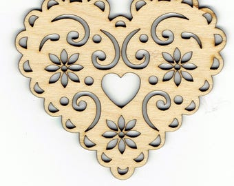 Wood Ornate Floral Heart Shape Decoration Embellishment