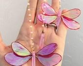 Mini Dagonfly Mobile, Hanging Ornament, Boho Chic, Home Decor, Crystal Butterflies, Crystal Healing, Miniature, Boho Style, Pink Quartz