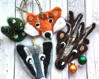 Felt christmas ornaments etsy for Badger christmas decoration