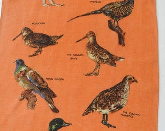 Vintage Linen Tea Towel Dish Towel RARE Orange and Brown Made in Ireland GAME BIRDS in Irish Linen Excellent Used Condition