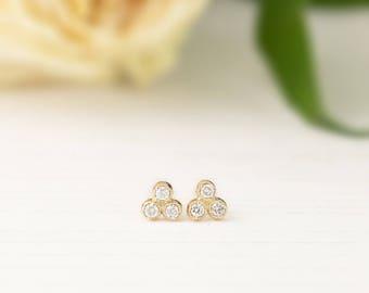 Three stone diamond rose gold stud earrings, 14k gold bezel set trio diamond earrings, 0.11ctw, white gold diamond earrings, dal-e102-1.5mm