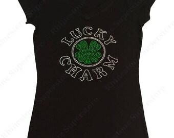 "Women's Rhinestone T-Shirt "" Lucky Charm Clover St. Patrick's Day "" in S, M, L, 1x, 2x, 3x 4 Leaf Clover"