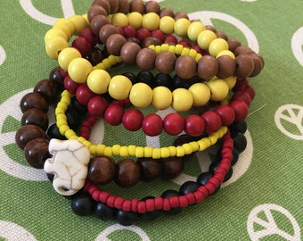 set of 7 colorful wood bead bracelets yoga bracelets bohemian elephant bracelets stacked stretch bracelets stacking women's bracelet set