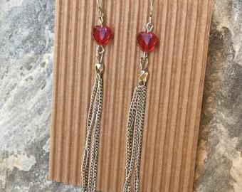 silver tassel earrings long dangle earrings red heart earrings chain tassel earrings gift for her dangle earrings Valentines Day gift heart