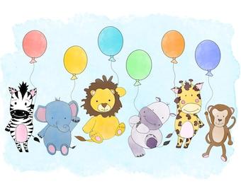 Safari Animals/ Baby Nursery Art/ Print Download/ A4 size/balloons/nursery decor/ baby room/ animal lover/ nursery art/ art print/ Wall art/