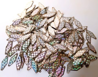 100 Vintage Hologram Steel Metal Disks. 1960s 70s Space Age Chain Link Diamond Sequins. Retro Jewelry /Jewellery, Dress Making, Craft Supply