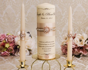 Rose Gold and Champagne Wedding Unity Candle Set, Monogram  Unity Candles, Champagne Wedding Candles, Rose Gold Wedding Candles