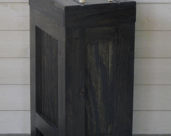 Wood Trash Can, Kitchen Garbage Can, Wood Trash Bin, Rustic Trash Bin, Wooden trash Bin, Wooden Trash Can, 13 Gallon, Black Stain