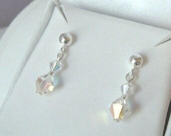 Small AB Swarovski crystal drop earrings Sterling Silver stud crystal wedding earrings bridal earrings AB Swarovski bridesmaid jewelry gift