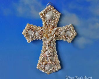 Seashell Cross, Seashell Wall Art, Coastal Decor, Shell Wall Decor, Religious Christian Gift, Baptism New Baby Gift, Coastal Decor Cross