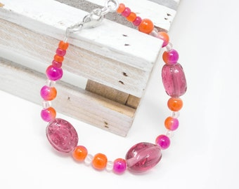 Bright Bracelet, Cute Bracelet, Colorful Bracelet, Fuchsia and Orange, Color Pop, Summer Bracelet, Gift for Her
