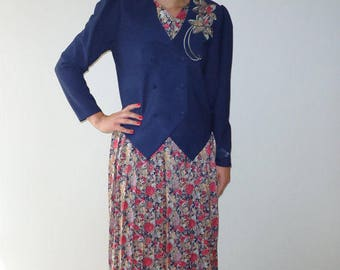 VintageTwo Piece Skirt Suit Dark Blue Flower Accordion Pleated Skirt and Jacket Medium  Size