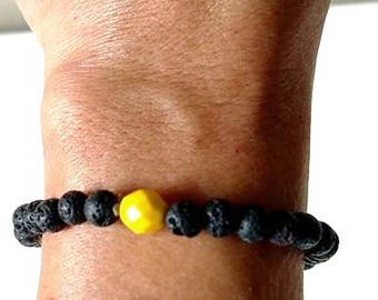 Essential Oil Aromatherapy Lava Bead Yellow Bead Relaxation Tranquility Bracelet