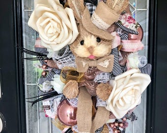 Easter Door Swag, Easter Wreath, Easter Decoration, Spring Wreath, Deco Mesh Wreath, Easter Bunny Wreath, Rose Gold, Ready to Ship