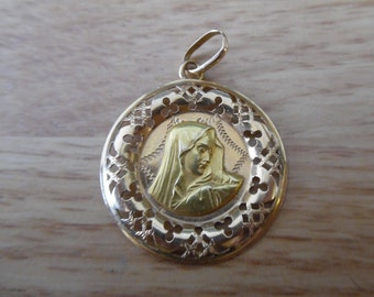 18k Yellow Gold Gold Virgin Mary Round Necklace Pendant 3.6g