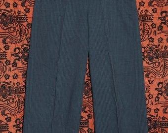 Vintage 80s Romeo Gigli Cotton Grey Hi Waist Pants 42