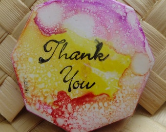 Ceramic Tile Magnet.  With hand stamped painted , With Thank You