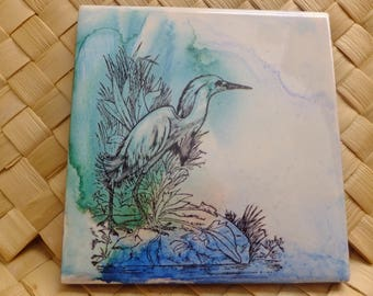 White Heron on Ceramic Tle
